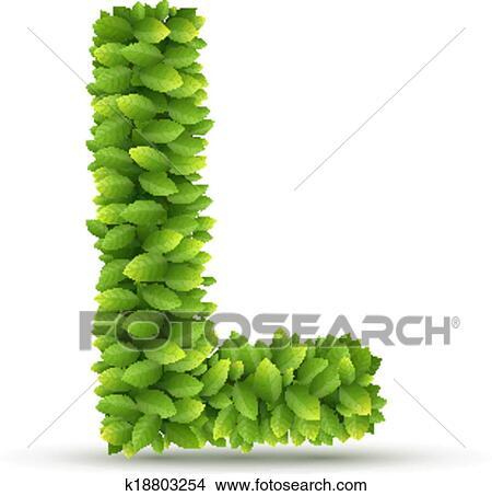 Clipart - letra l, vector, alfabeto, de, hojas verdes k18803254 ...