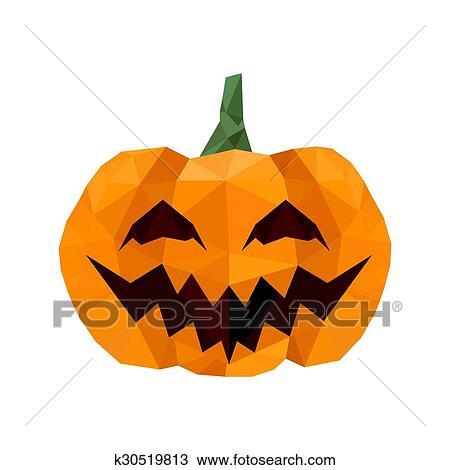 Clipart Of Modern Flat Design With Halloween Origami Pumpkin