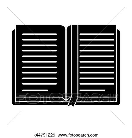 Open book school learning library pictogram Clipart