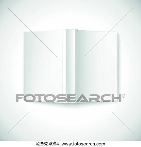 Ouvert Livre Blanc Couverture Sommet Vue Clipart