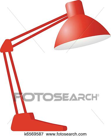 Clip Art Red Desk Lamp Fotosearch Search Clipart Ilration Posters Drawings