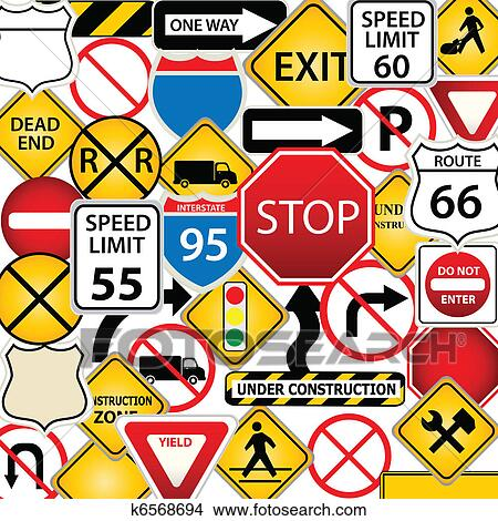 road and traffic signs clipart