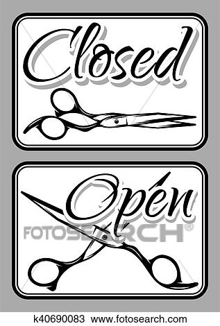 clipart of set of vintage door signs for barber shop with scissors rh fotosearch com barber shop clip art free barber shop chair clipart