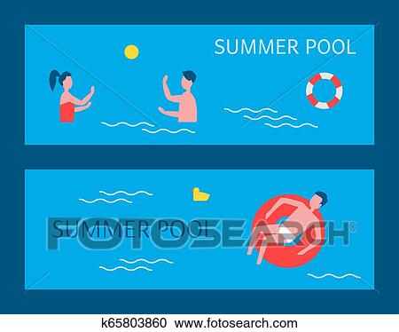 Summer Pool Posters Swimming Vector Illustration Clipart