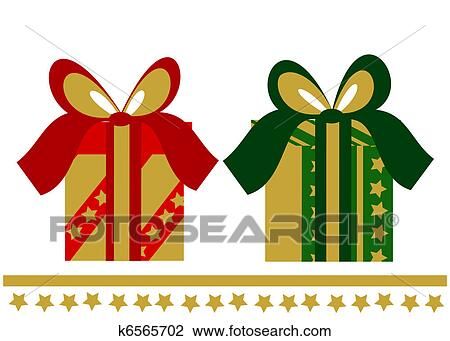 Christmas Presents Clipart.Two Elegant Christmas Presents Clipart