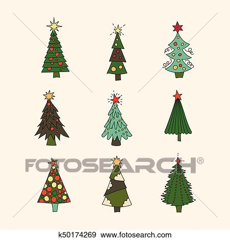 Clip Art - Vector icon set with Christmas trees.. Fotosearch - Search  Clipart, - Clip Art Of Vector Icon Set With Christmas Trees. K50174269 - Search