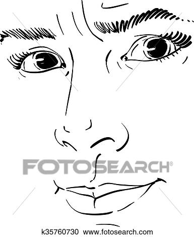Illustration Visage clipart of vector portrait of irate woman, illustration of good