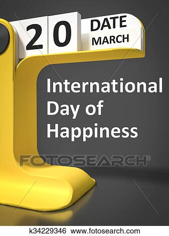 Stock Images Of Vintage Calendar International Day Of Happiness