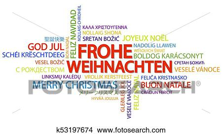 word cloud with text merry christmas in different languages in the middle one oversized and bold written in german
