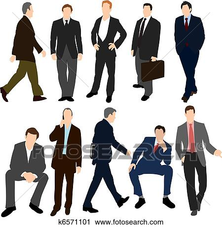 セット の 男性 中に スーツ クリップアート切り張りイラスト