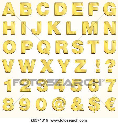 Colección de ilustraciones - alfabeto, dorado, oro, carta, vector ...