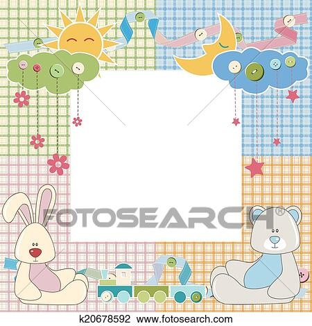 Clipart of Baby frame or card with rabbit and bear. Vector k20678592 ...