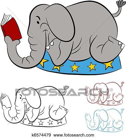Circus Elephant Reading a Book Clip Art | k6574479 ...