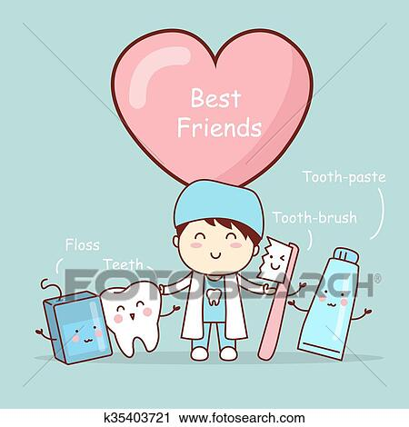 Cute Cartoon Tooth Best Friends Clipart K35403721 Fotosearch