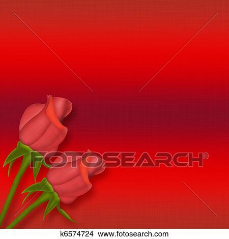 Dibujos Dos Rosas Rojas K6574724 Buscar Clip Art Ilustraciones