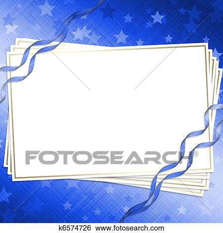 Invitation Card On A Dark Blue Background With Ribbons Stock