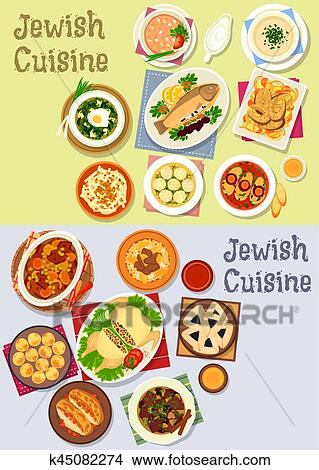 Clipart Of Jewish Cuisine Kosher Food Icon For Menu Design K45082274