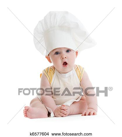 Stock Photo of Little boy with cook hat isolated k6577604 - Search ... d97e337c061f