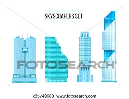 Clipart Of Modern Skyscrapers Icons Set Flat Design Of The City