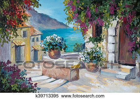 Banque d\'Illustrations - peinture huile, sur, toile, -, beau ...