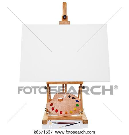 Picture Of Photo Of An Artists Easel With A Blank Canvas Plus