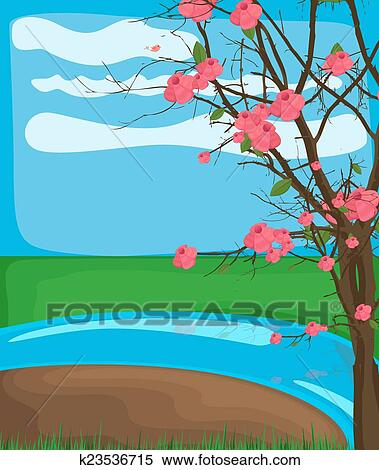 Riviere Hiver Dessin Clipart K23536715 Fotosearch