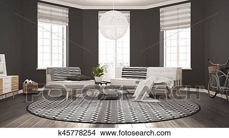 Zeichnungen Skandinavisch Minimalist Wohnzimmer Mit Sofa