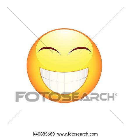 Sorriso Emoticon Con Grandi Denti Clip Art
