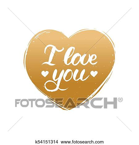 Clipart Vector Mano Letras Frase Yo Amor You February 14