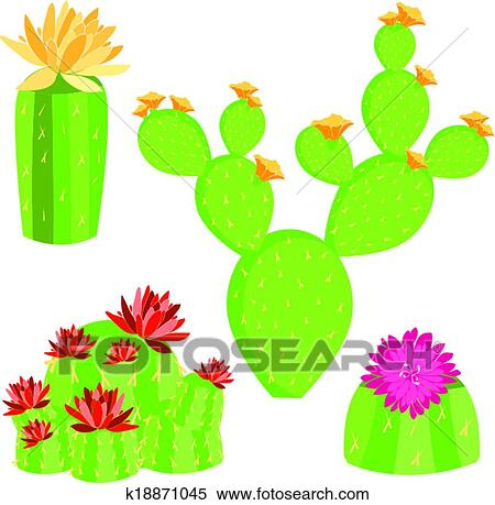 clipart of vector of different cactus k18871045 search clip art