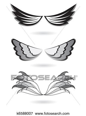 セット の 天使翼 イラスト K6588007 Fotosearch