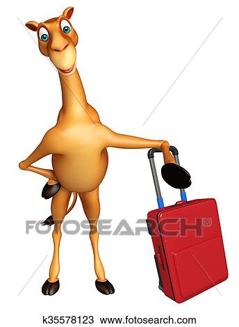 Camel cartoon character with travel bag Drawing