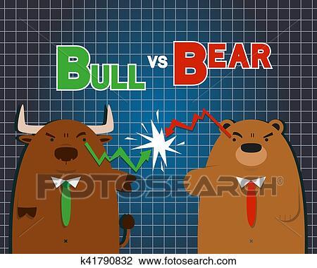 Carino grande toro orso cartone animato contro in borsa