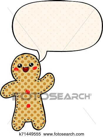 Gingerbread Man Baking Biscuit Food Cute Cartoon Retro Style Speech Bubble  Balloon Talking Speaking Drawing Illustration Retro Doodle Freehand Free  Hand Drawn Quirky Art Artwork Funny Character Stock Illustrations – 3  Gingerbread