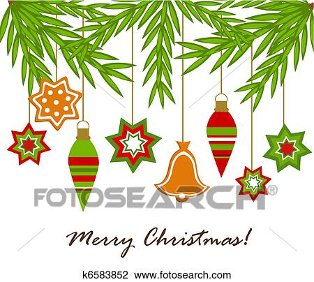 Drawings Of Christmas Ornaments.Christmas Ornaments Hanging Clipart