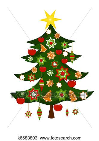 Christmas Tree With Ornaments Clipart K6583803 Fotosearch