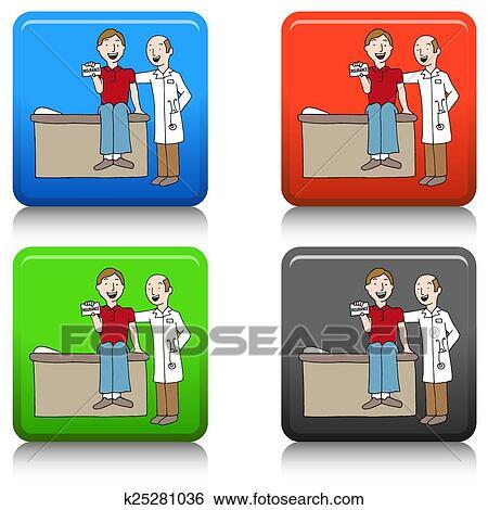 Health Insurance Card Button Clip Art   k25281036   Fotosearch