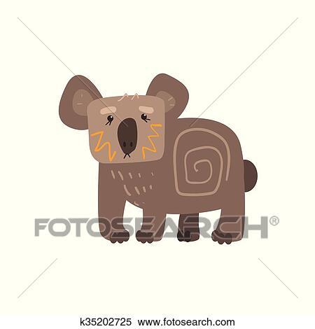 Koala standing appartamento cartone animato stilizzato clipart