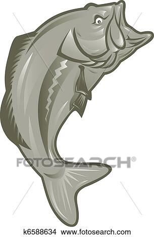 Drawings Of Largemouth Bass Fish K6588634 Search Clip Art