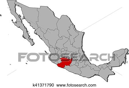 Map - Mexico, Michoacan Clipart