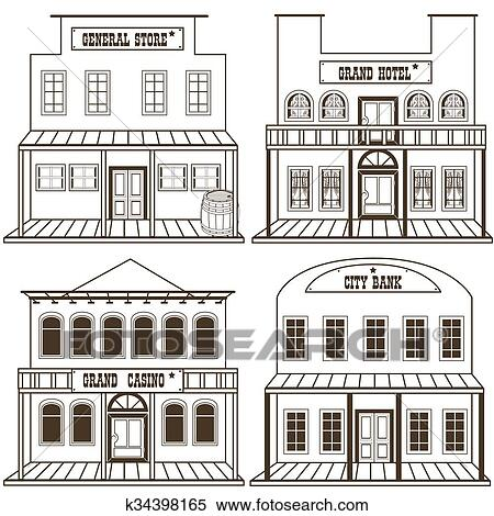 old west buildings coloring pages - photo#16