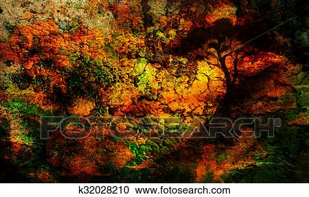 Painting Sunset Sea And Tree Wallpaper Landscape Color Collage Abstract Grunge Background With Spots