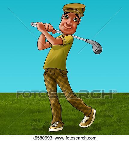 Golfer Swinging Club Hand Drawn Illustration Stock Vector