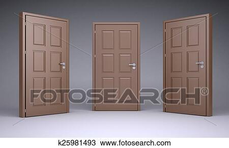 Three Brown 3d Door Locks And Doorhandle Drawing