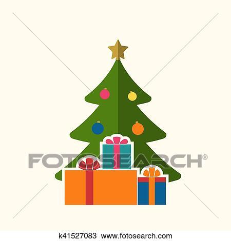 Symbol Weihnachtsbaum.Weihnachtsbaum Geschenke Flache Freigestellt Clipart