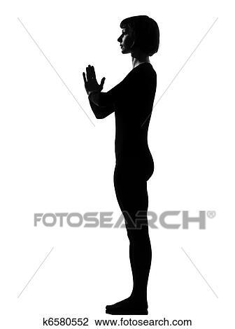 woman sun salutation yoga surya namaskar pose stock image