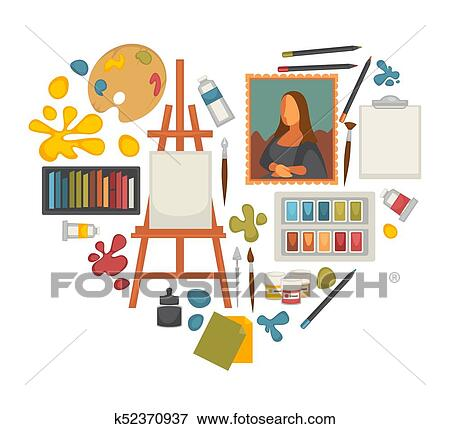 Artist paiting materials and creative art picture drawing tools vector  heart poster Clip Art