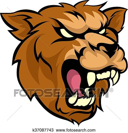 clipart of bear grizzly mean animal mascot k37087743 search clip rh fotosearch com grizzly bear mascot clipart bear cub mascot clipart