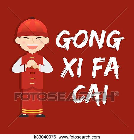 boy saying gong xi fa chai chinese new year vector illustration