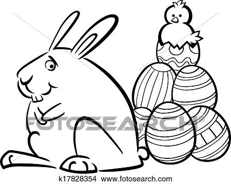 Easter bunny running with basket full of chocolate eggs coloring ... | 359x450